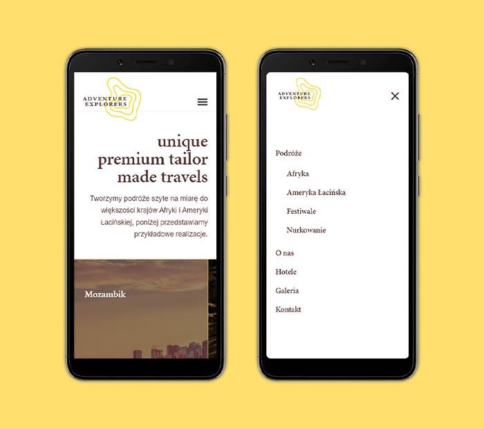 Widok strony głównej imenu dla urządzeń mobilnych