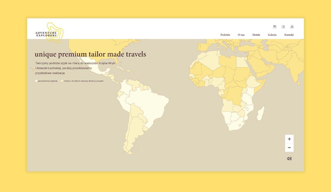 Widok strony głównej z interaktywną mapą