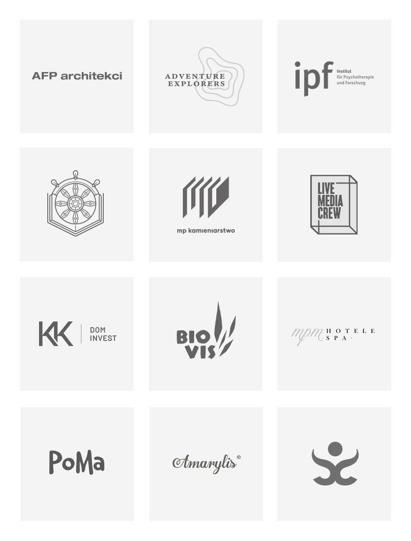 Zbiór logotypów wykonanych w ramach identyfikacji wizualnych zrealizowanych dla różnychklientów