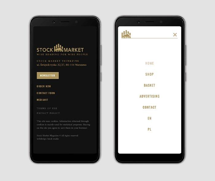 Stopka strony i widok menu—wersja mobilna